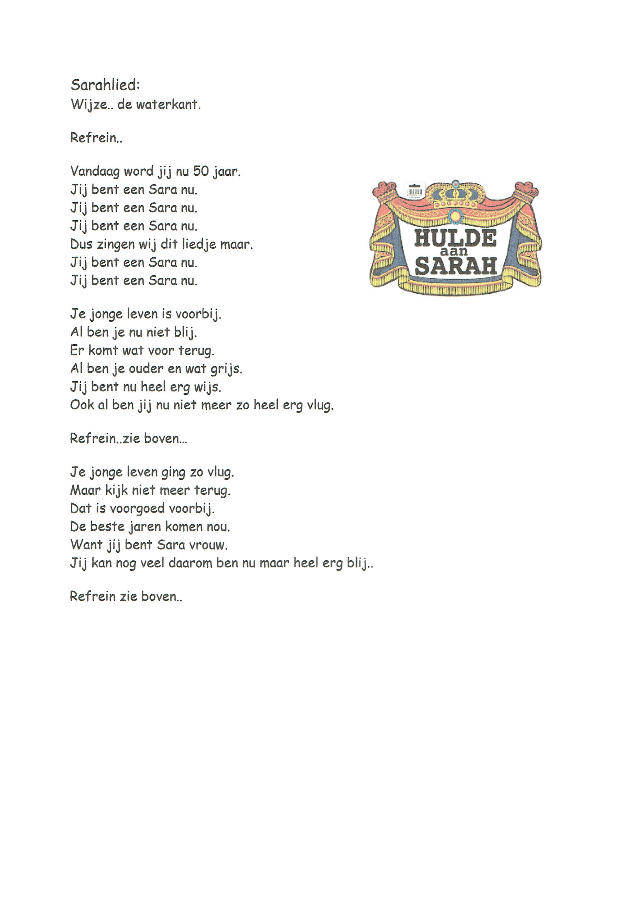 lied voor sarah 50 jaar Sarah lied   Feestwinkel de Scharrelboet lied voor sarah 50 jaar